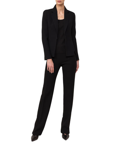 Hook-Front Wool-Crepe Tailored Blazer and Matching Items