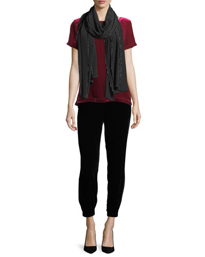 Short-Sleeve Bateau-Neck Velvet Top, Plus Size and Matching Items
