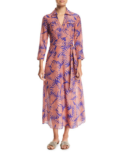 Floral-Print Voile Maxi Wrap Dress, Blue/Red and Matching Items