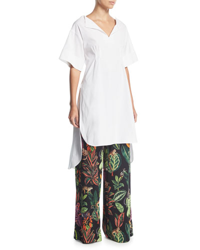 Half-Sleeve Split-Neck Gathered-Back Poplin Tunic Blouse and Matching Items