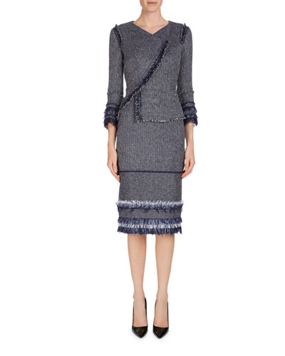 Riseley Sleeveless Tweed Dress W/ Mesh Insets  and Matching Items