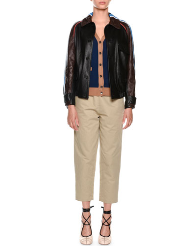 Button-Front Side-Stripe Leather Bomber Jacket and Matching Items