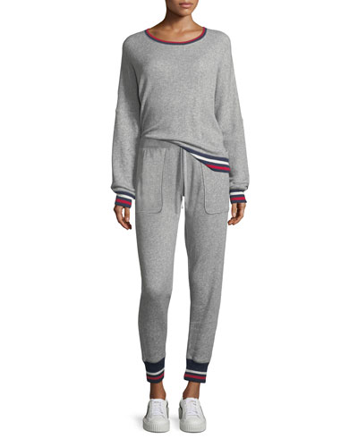 Richardine B Pullover Sweatshirt w/ Striped Trim and Matching Items