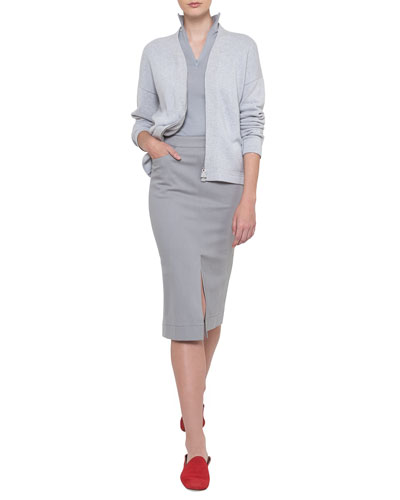 Long-Sleeve Zip-Front Cashmere Cardigan  and Matching Items