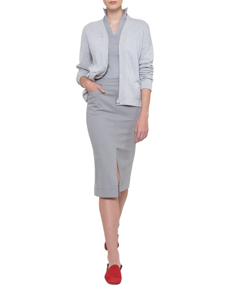 Long-Sleeve Zip-Front Cashmere Cardigan