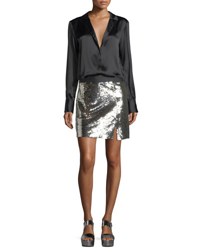 Showtime Front Slit Sequin Mini Skirt and Matching Items