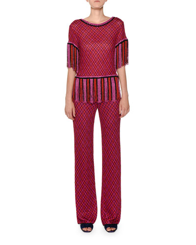 Multicolor Wide-Leg Knit Pants and Matching Items