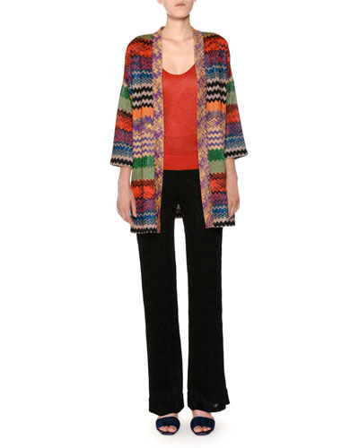 Open-Front Multicolor Metallic Knit Oversized Cardigan and Matching Items
