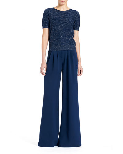 Wide-Leg Double-Face Georgette Silk Pants and Matching Items