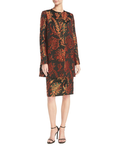 Button-Front Floral-Jacquard Collarless Long Jacket and Matching Items