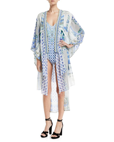 Open-Front Beaded Silk Kimono Coverup and Matching Items