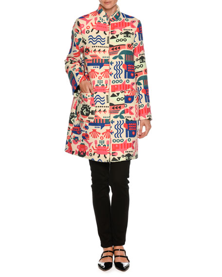 Cyber Underwater World High-Neck Embroidered Coat