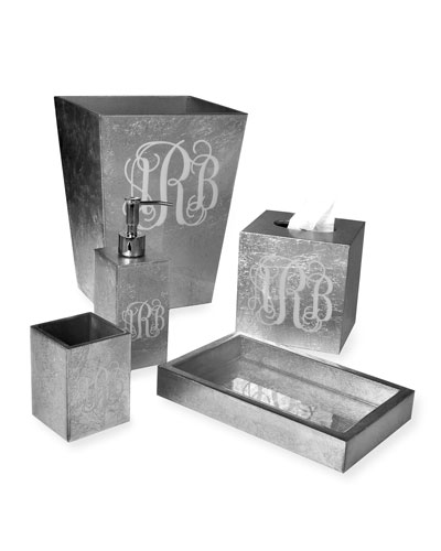 Eos Monogram Wood Brush Holder, Silver  and Matching Items
