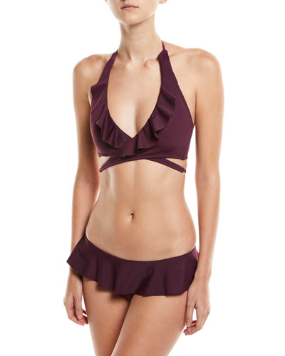 Ruffle Wrap Solid Bikini Swim Top and Matching Items