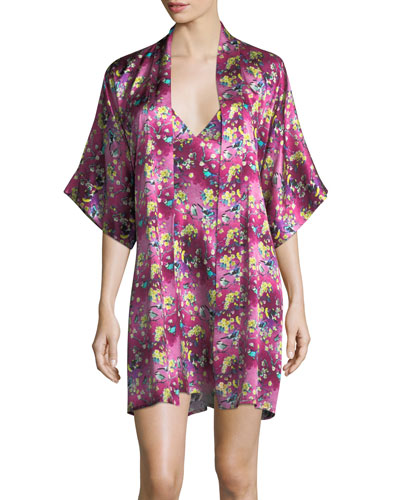 Whimsy Floral-Print Silk Robe and Matching Items