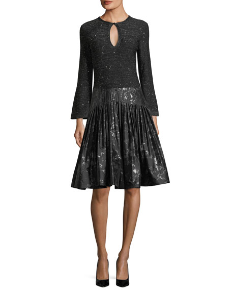 Jacquard Metallic Pleated Party Skirt