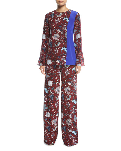 Floral-Print Wide-Leg Silk-Blend Pants and Matching Items