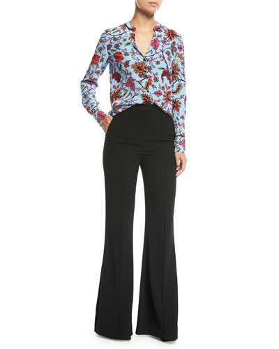 Pleat-Front Mid-Rise Flared-Leg Pants and Matching Items