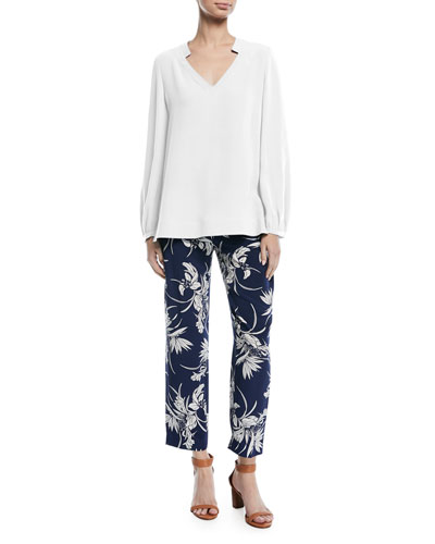 Tullula Tropical-Print Straight-Leg Silk Pants and Matching Items