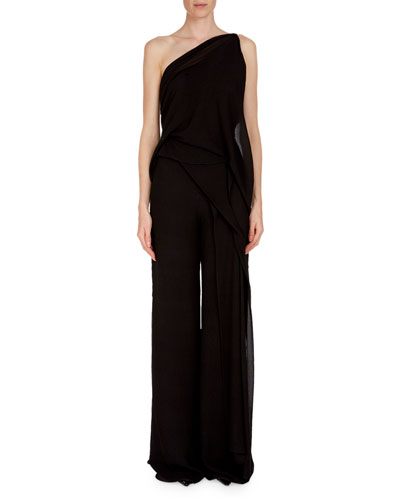 Bilton One-Shoulder Draped Asymmetric Textured Silk Top and Matching Items