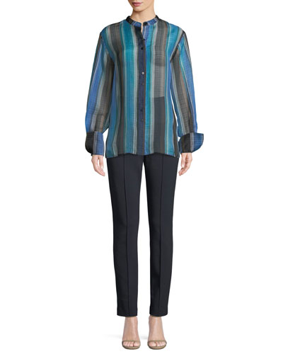 Wide-Sleeve Striped Silk Button-Up Top and Matching Items