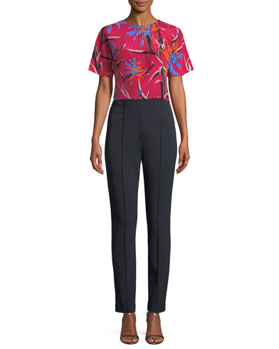 Short-Sleeve Pintuck Floral-Print Silk Crop Top and Matching Items