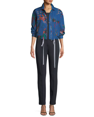 Zip-Front Floral-Print Bomber Jacket and Matching Items