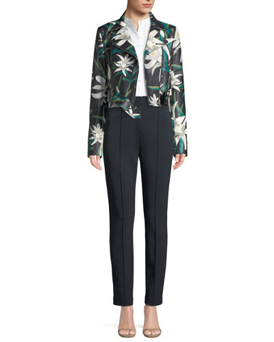 Lily Print Zip-Front Cropped Leather Moto Jacket and Matching Items