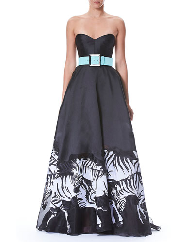 Strapless Belted Bustier Zebra-Print Evening Gown and Matching Items