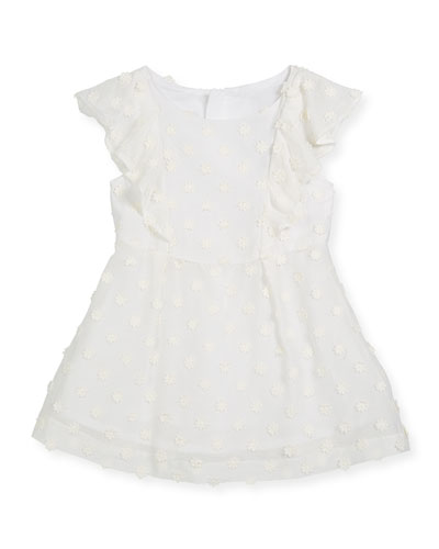 Daisy-Embroidery Ruffle Dress, Size 4-7  and Matching Items