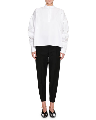 Band-Neck Long-Sleeve Cotton-Pique Shirt and Matching Items