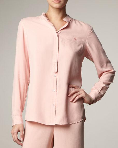 e2c15013fccd7 Go Silk Mandarin Collar Silk Blouse
