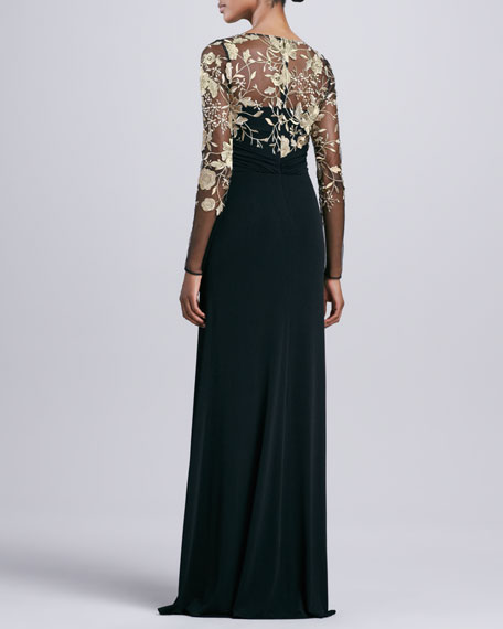 Long-Sleeve Lace-Overlay Gown
