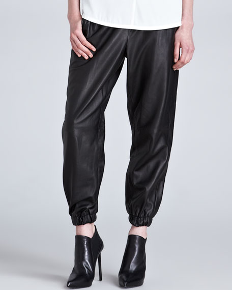 Leather Elastic-Cuff Track Pants