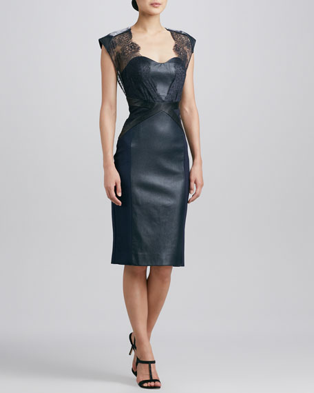 4085cf5f811 Catherine Deane Embroidered Lace   Leather Cocktail Dress