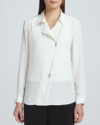 Silk Zip-Front Moto Jacket