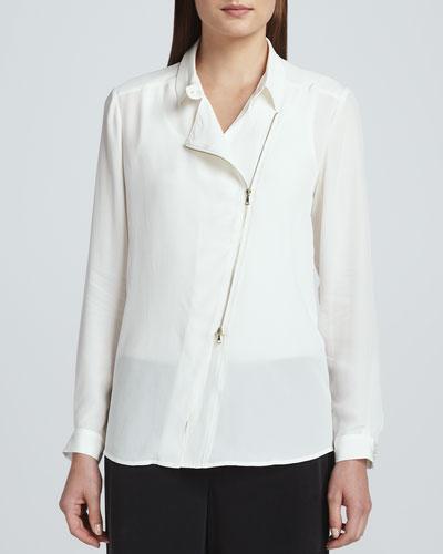 Silk Zip-Front Moto Jacket