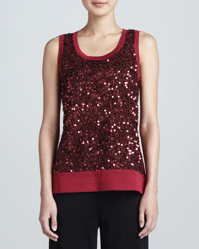 Sequined Metallic Knit Tank