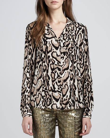 5ad5af799b82ce Diane von Furstenberg Lorelei Leopard-Print Chiffon Blouse