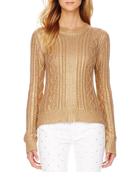 3321a43648 MICHAEL Michael Kors Metallic Cable-Knit Sweater