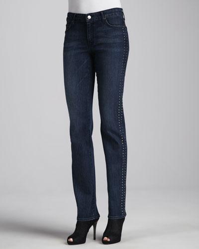 Faith Beaded Straight-Leg Jeans