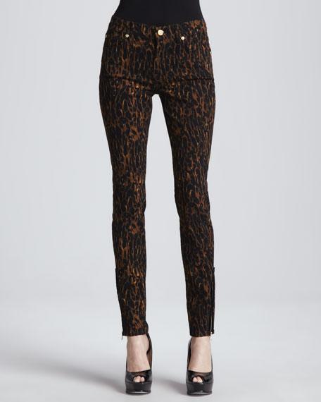 Cur Elliott The Sti Leopard Print Raw Hem Jeans