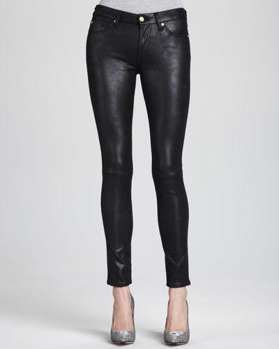 Leather-Like Skinny Jeans, Black