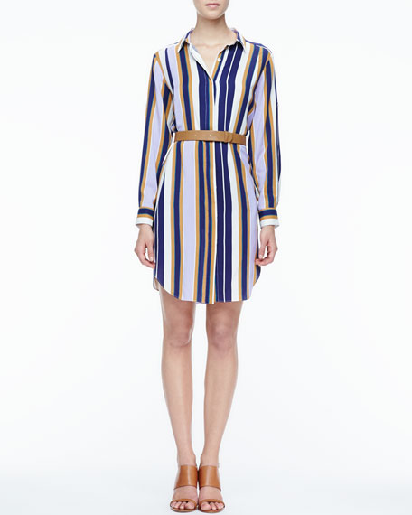 6a06243029201 Halston Heritage Striped Belted Fuji Silk Shirtdress