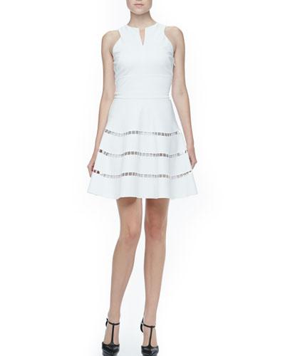 Cutout-Stripe Twill Dress