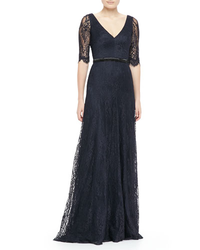 Lace Elbow-Sleeve Gown