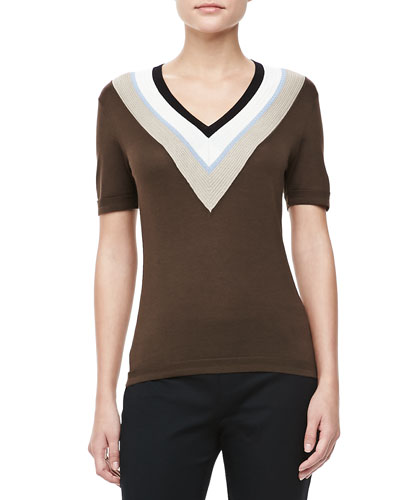 V-Neck Striped-Trim Top, Sepia