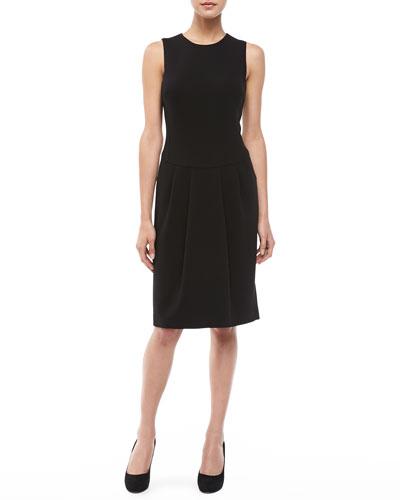 Boucle Pleat-Skirt Dress