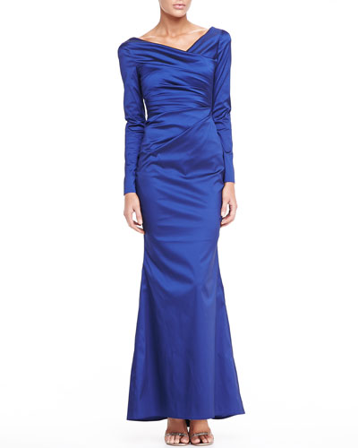 Long-Sleeve Asymmetric Satin Gown