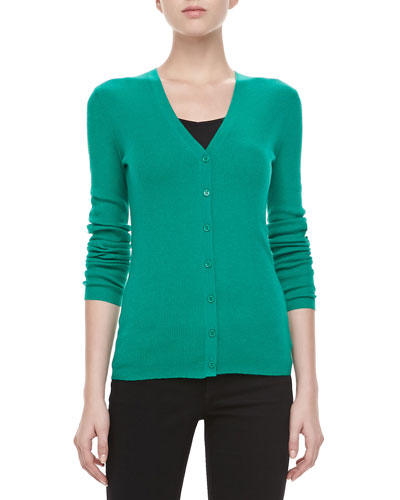 Long-Sleeve Cashmere Cardigan, Emerald